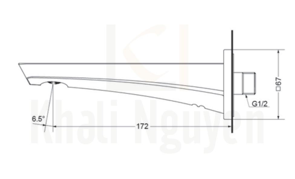 Bản Vẽ Vòi Xả Bồn TOTO TBG07001B Âm Tường