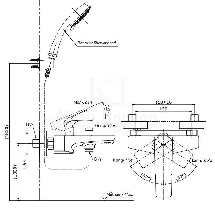 Bản Vẽ Sen Tắm TOTO TBG07302V/DGH104ZR Nóng Lạnh