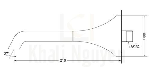 Bản Vẽ Vòi Xả Bồn TOTO TBG08001B Âm Tường