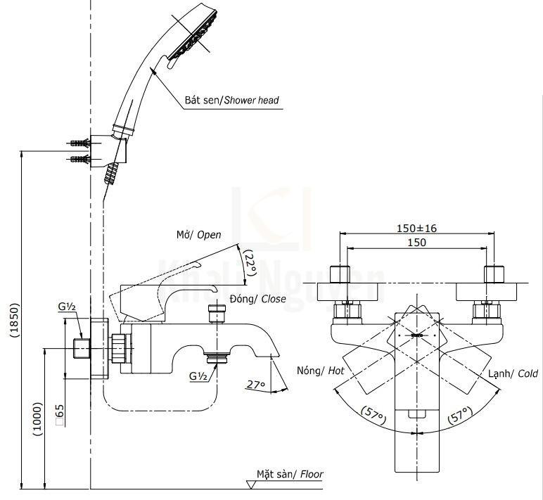 Bản Vẽ Sen Tắm TOTO TBG08302V/TBW02006A Nóng Lạnh
