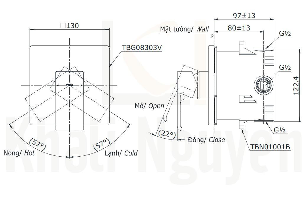Bản Vẽ Van Điều Chỉnh Nóng Lạnh TOTO TBG08303V/TBN01001B