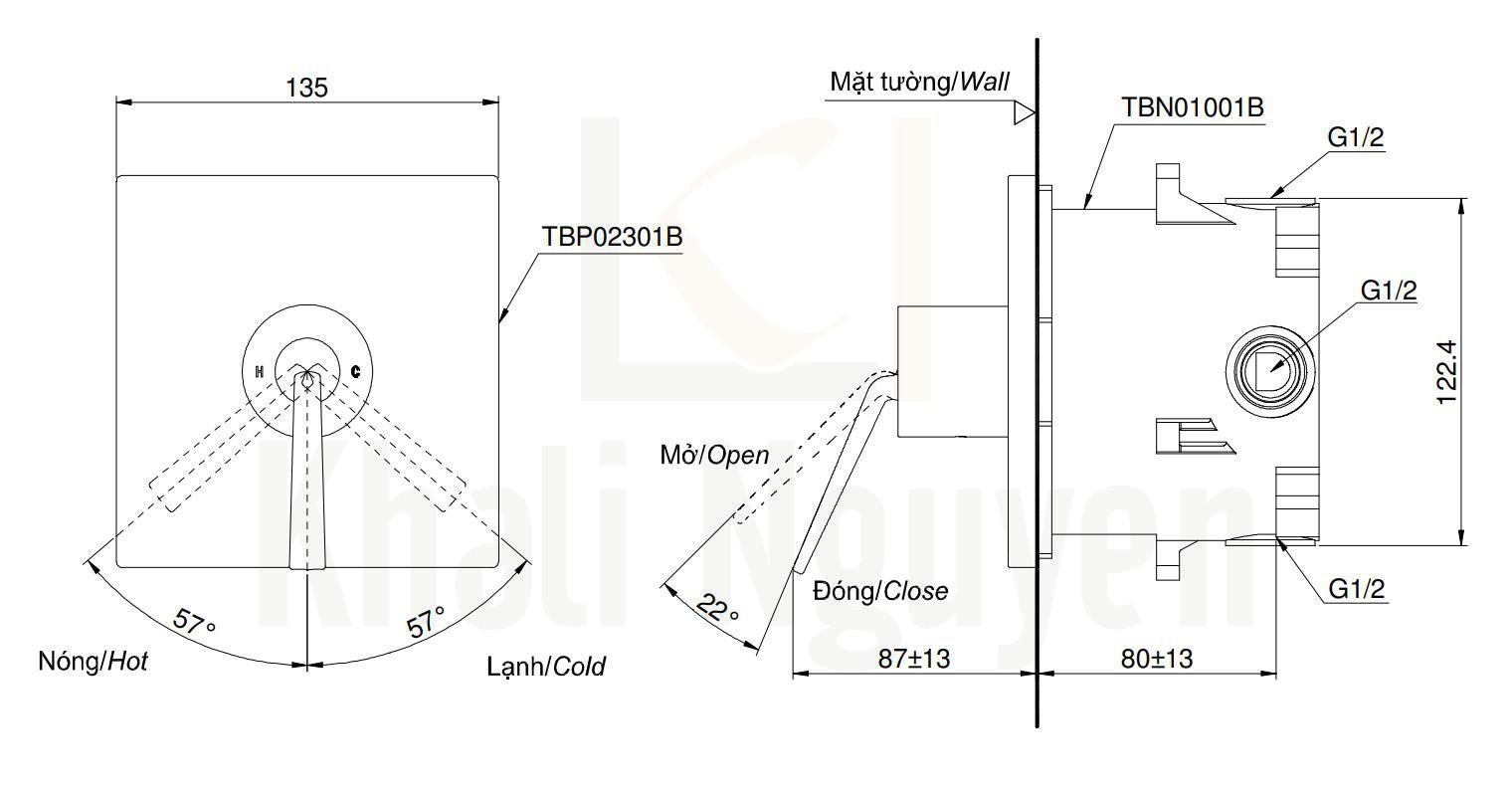 Bản Vẽ Van Điều Chỉnh Nhiệt Độ TOTO TBP02301B/TBN01001B
