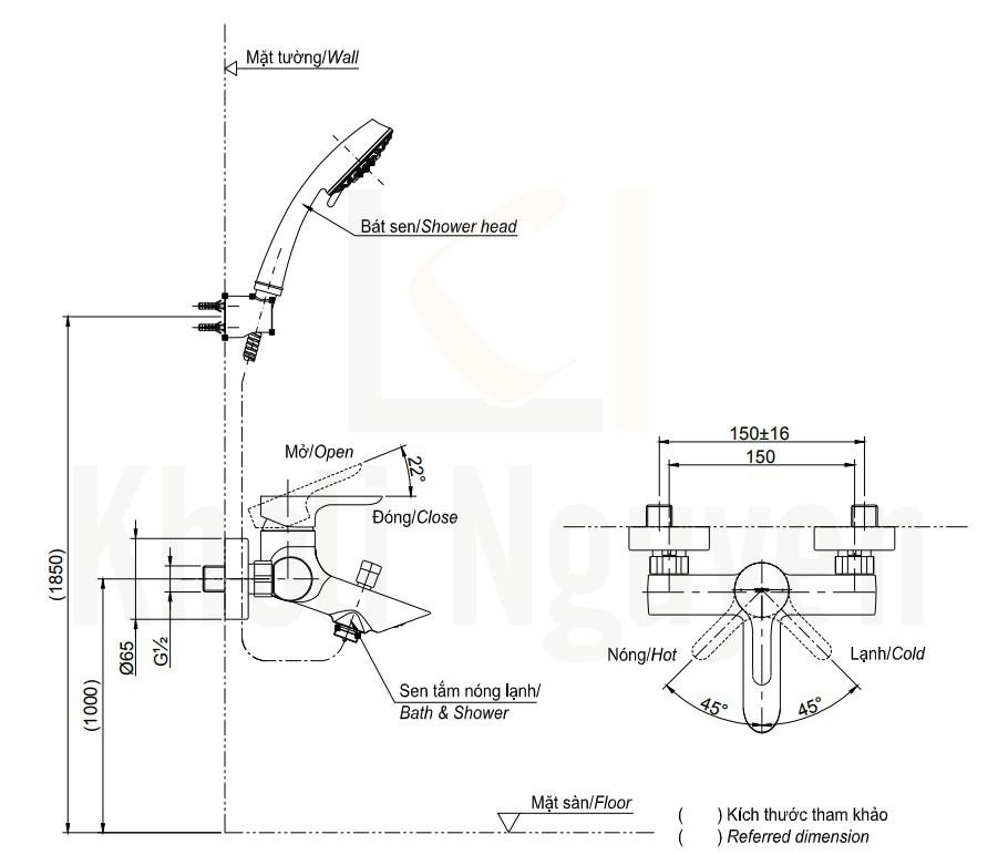 Bản Vẽ Sen Tắm TOTO TBS01302V/TBW02006A Nóng Lạnh