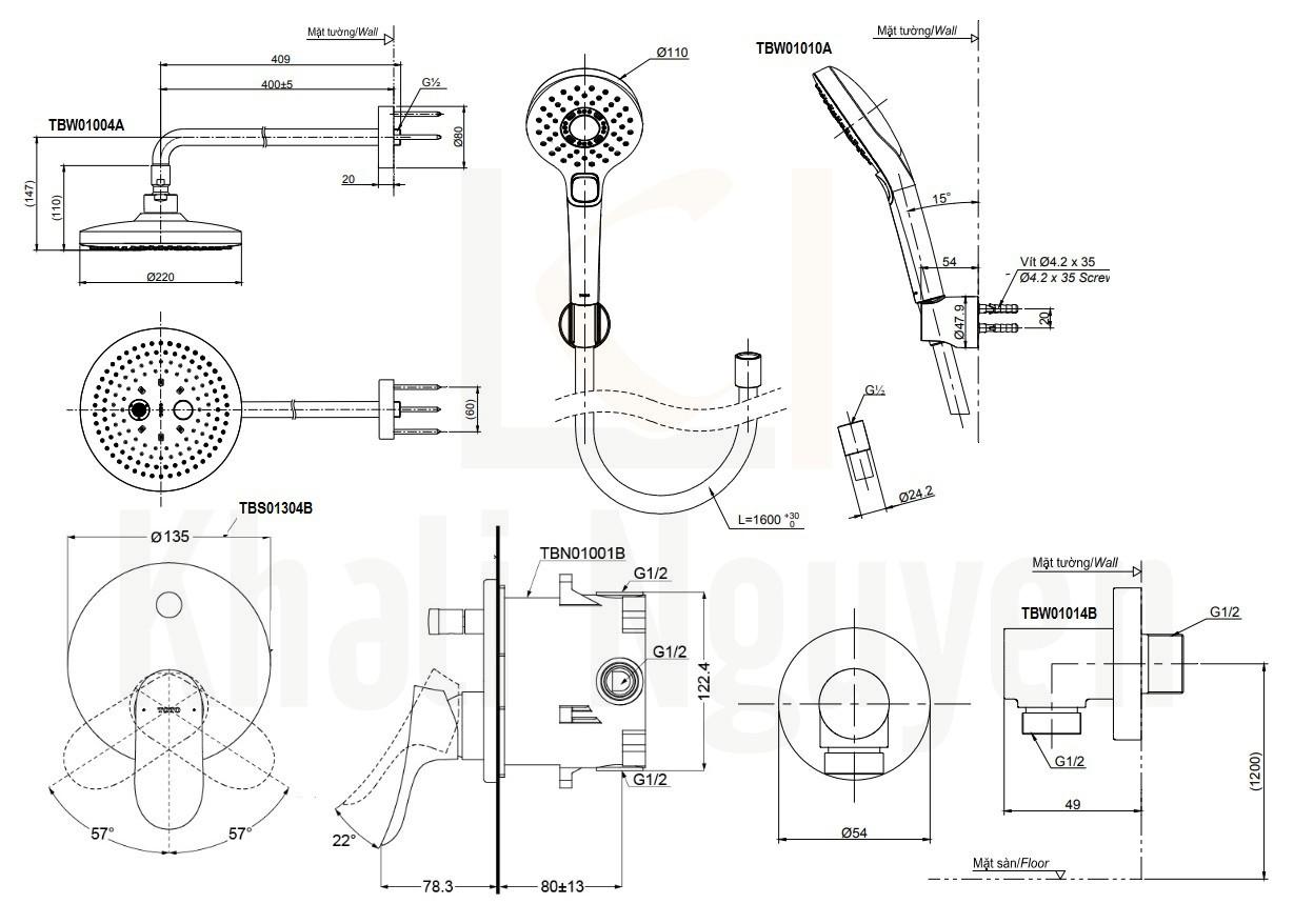 Bản Vẽ Sen Tắm TOTO TBS01304B/TBW01004A/TBW01010A Âm Tường