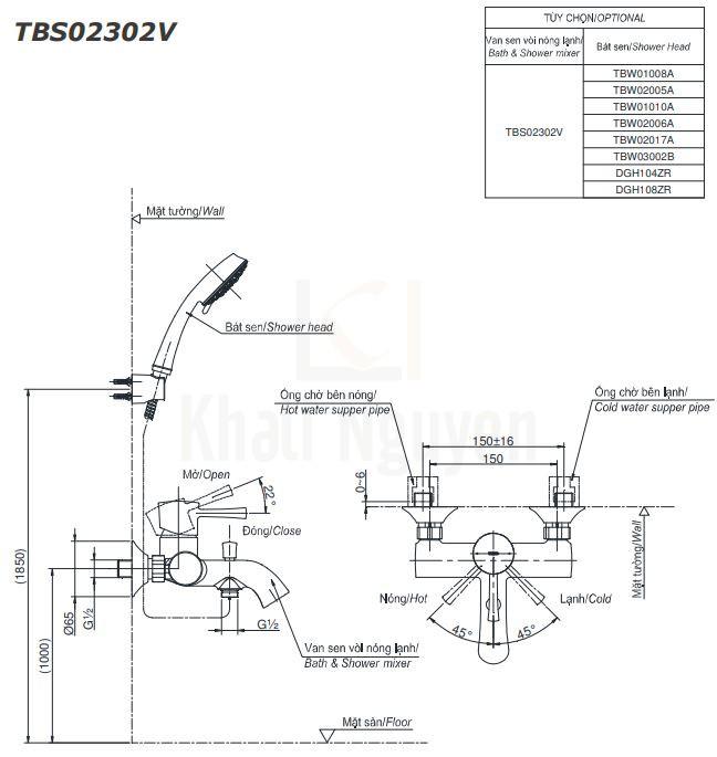 Bản Vẽ Sen Tắm TOTO TBS02302V/DGH108ZR Tay Sen 5 Chế Độ