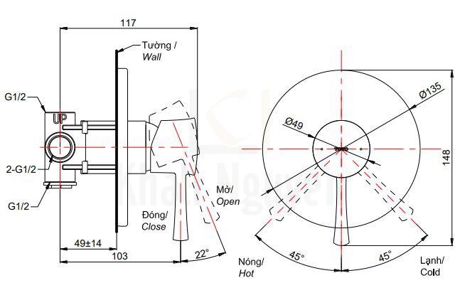 Bản Vẽ Van Điều Chỉnh Nóng Lạnh TOTO TBS02303B