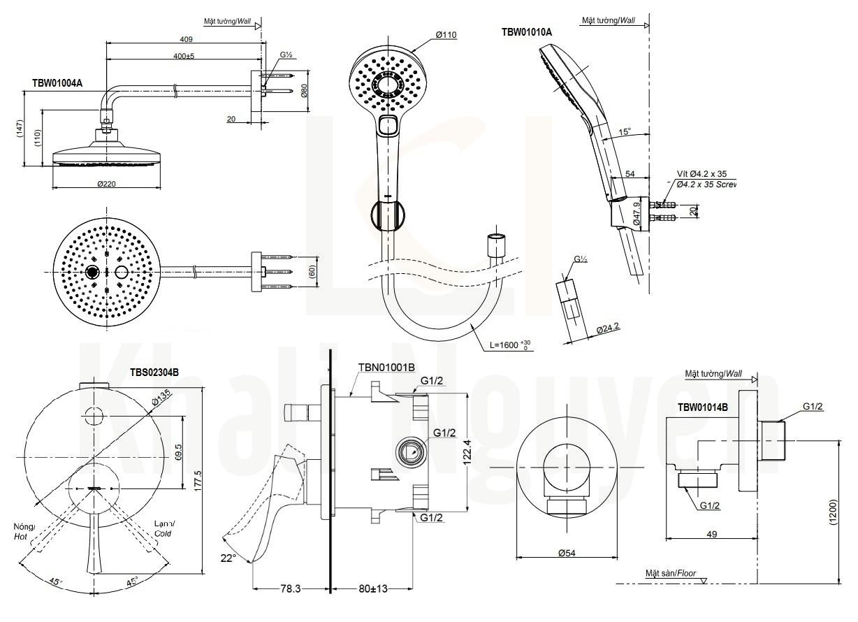 Bản Vẽ Sen Tắm TOTO TBS02304B/TBW01004A/TBW01010A Âm Tường