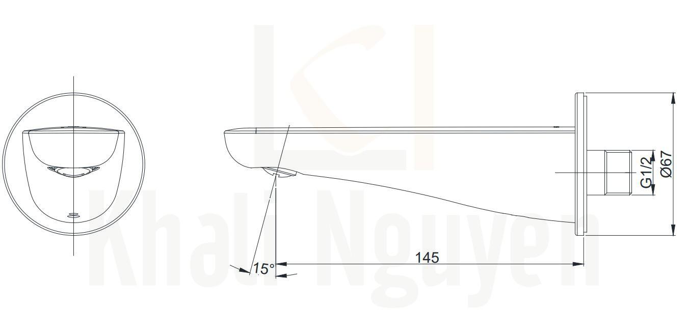 Bản vẽ Vòi Xả Bồn LC TOTO TBS03001B