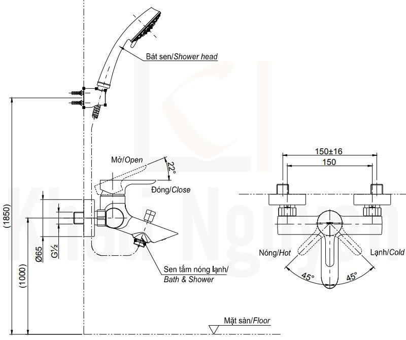Bản Vẽ Sen Tắm TOTO TBS03302V/DGH108ZR Tay Sen 5 Chế Độ