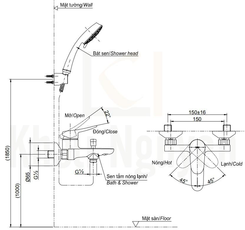 Bản Vẽ Sen Tắm TOTO TBS04302V/DGH108ZR Tay Sen 5 Chế Độ