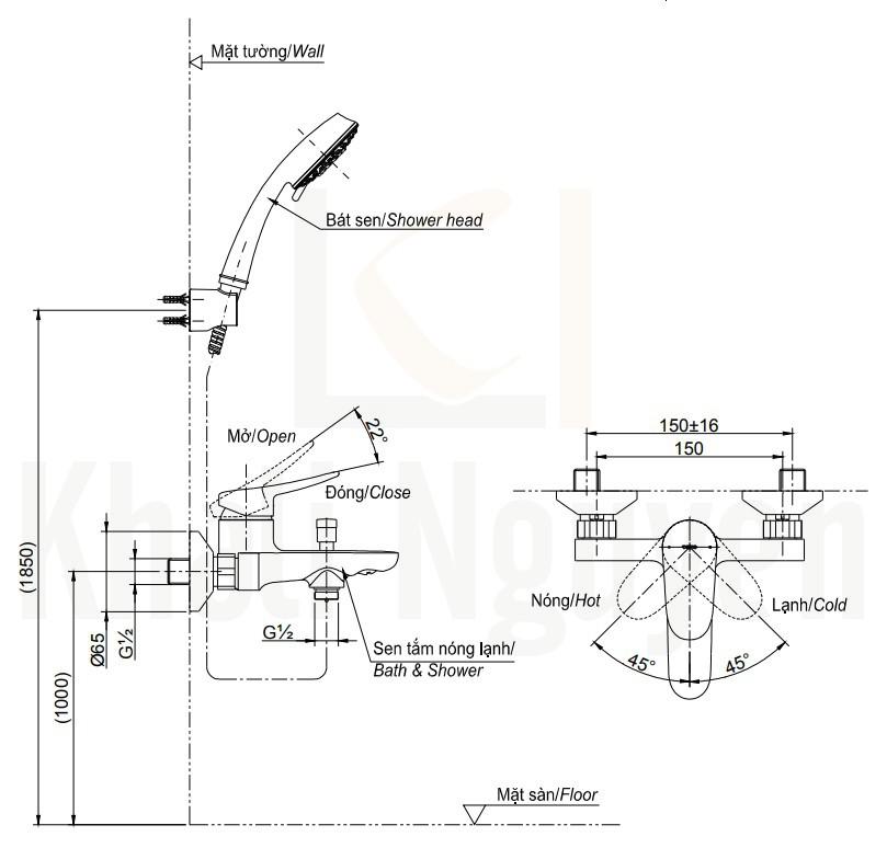 Bản Vẽ Sen Tắm TOTO TBS04302V/TBW01008A Nóng Lạnh