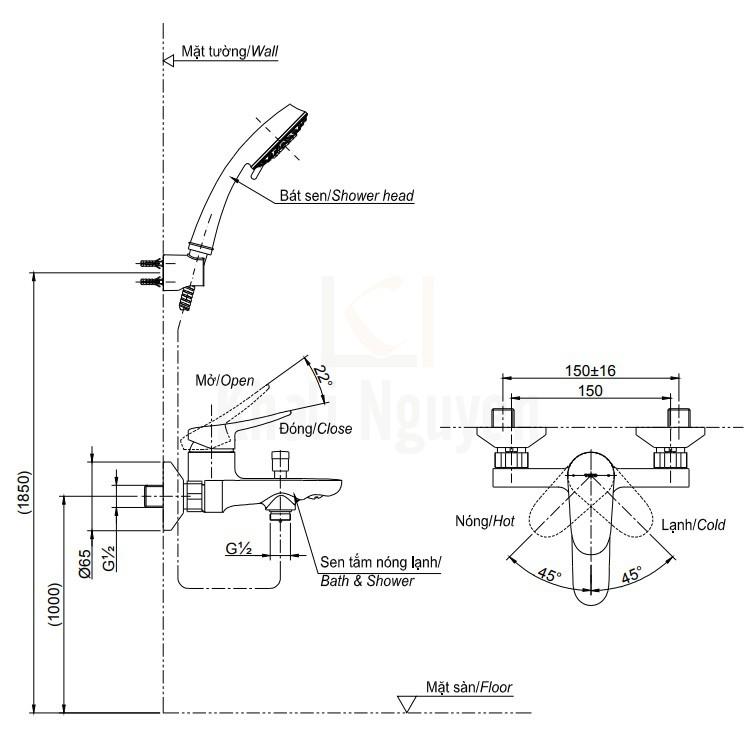 Bản Vẽ Sen Tắm TOTO TBS04302V/TBW02017A Nóng Lạnh