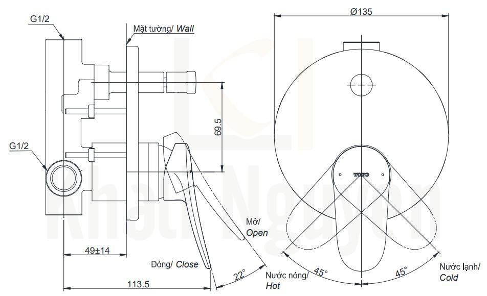 Bản Vẽ Van Điều Chỉnh Nóng Lạnh TOTO TBS04304B Kèm Nút Chuyển Hướng