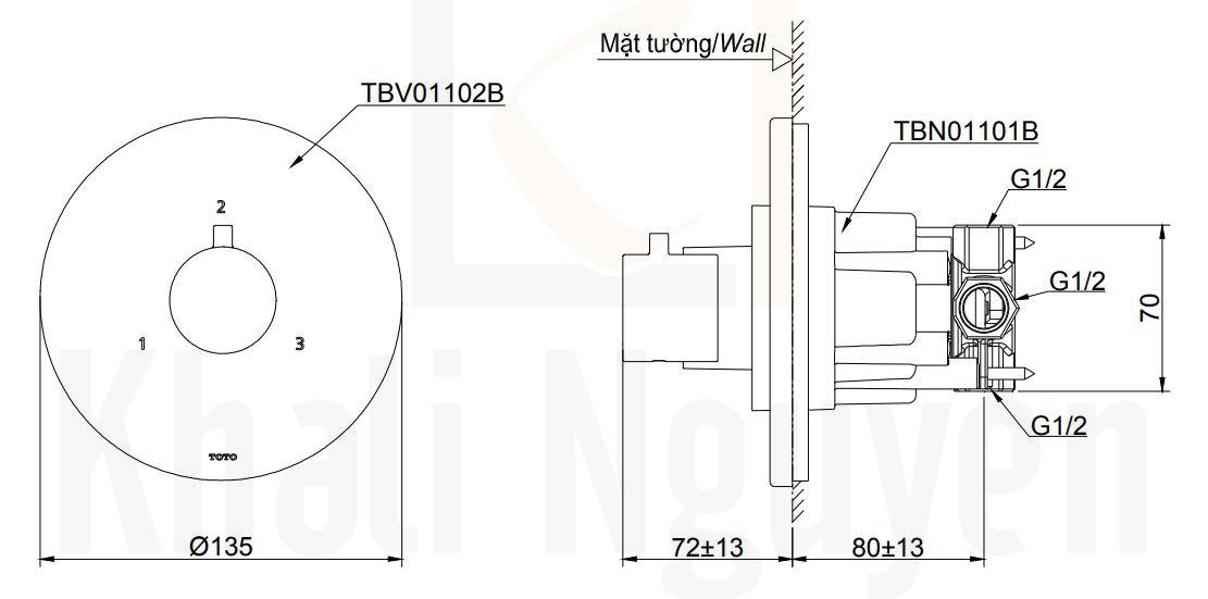 Bản Vẽ Van Điều Chỉnh Nhiệt TOTO TBV01102B/TBN01101B