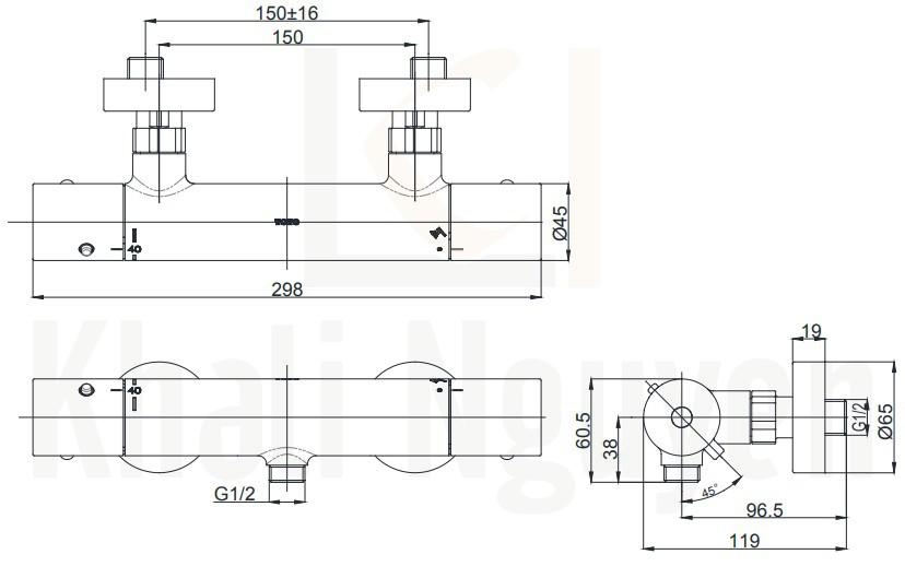 Bản Vẽ Van Điều chỉnh Nhiệt Độ TOTO TBV01401B
