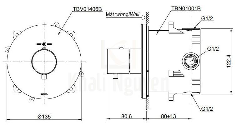 Bản Vẽ Van Điều Chỉnh Nhiệt Độ TOTO TBV01406B/TBN01001B