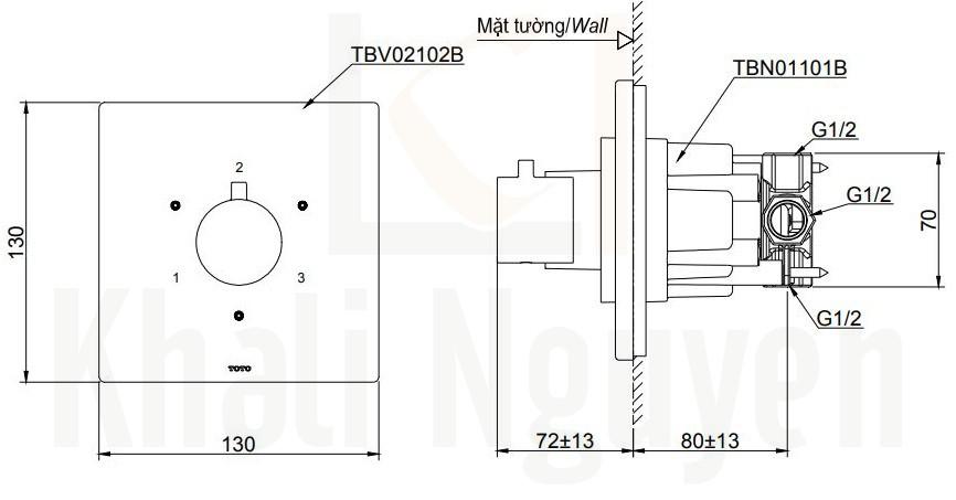 Bản Vẽ Van Chuyển Hướng TOTO TBV02102B/TBN01101B 3 Đường Nước
