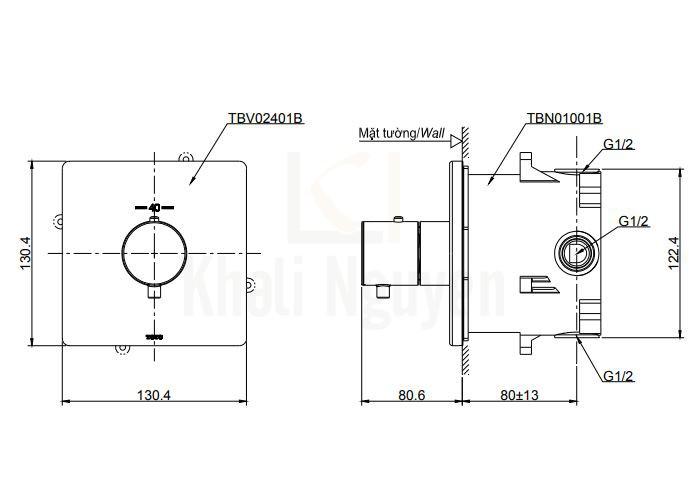 Bản Vẽ Van Điều Chỉnh Nhiệt TOTO TBV02401B/TBN01001B