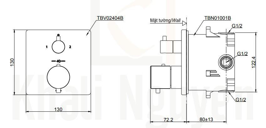 Bản Vẽ Van Điều Chỉnh Nhiệt Độ TOTO TBV02404B/TBN01001B