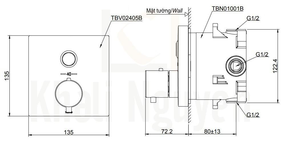 Bản Vẽ Van Điều Chỉnh Nhiệt Độ TOTO TBV02405B/TBN01001B Nút Nhấn
