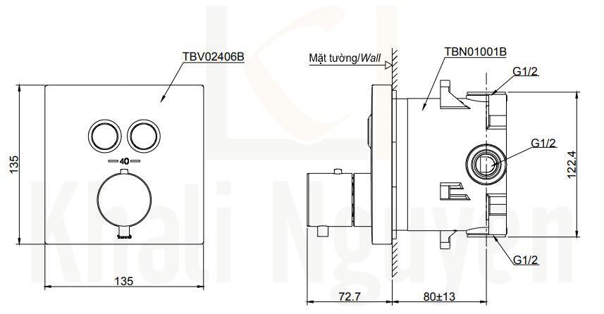 Bản Vẽ Van Điều Chỉnh Nhiệt Độ TOTO TBV02406B/TBN01001B Nút Nhấn