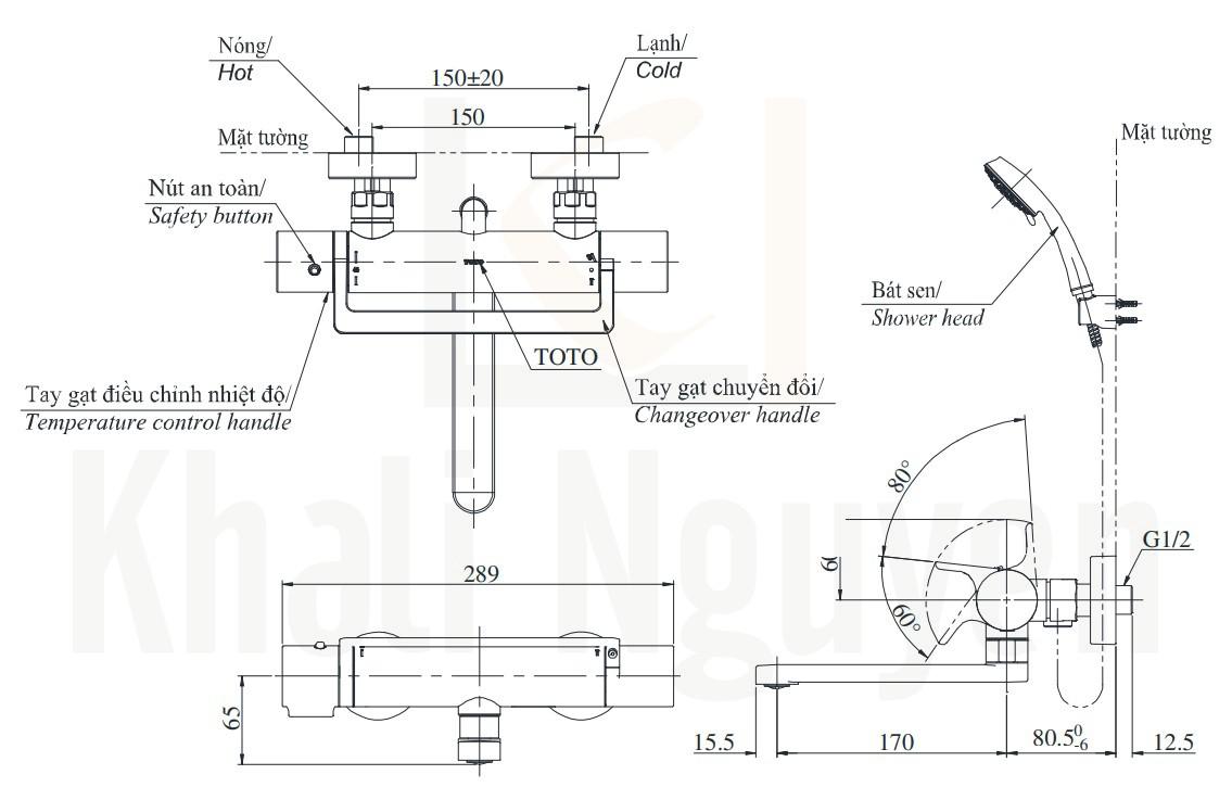 Bản Vẽ Sen Tắm Nhiệt Độ TOTO TBV03429V/DGH104ZR Xả Bồn
