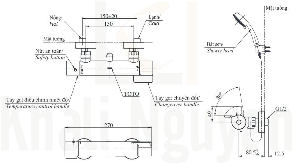 Bản Vẽ Sen Tắm Nhiệt Độ Nhật TOTO TBV03431V/TBW01010A