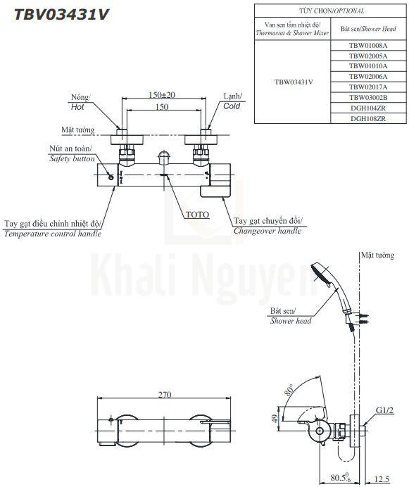 Bản Vẽ Sen Tắm TOTO TBV03431V Nóng Lạnh