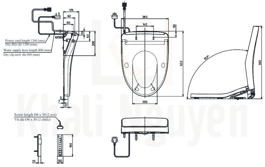 Bản Vẽ Nắp Rửa Điện Tử Washlet TOTO TCF4911EZ (W12)
