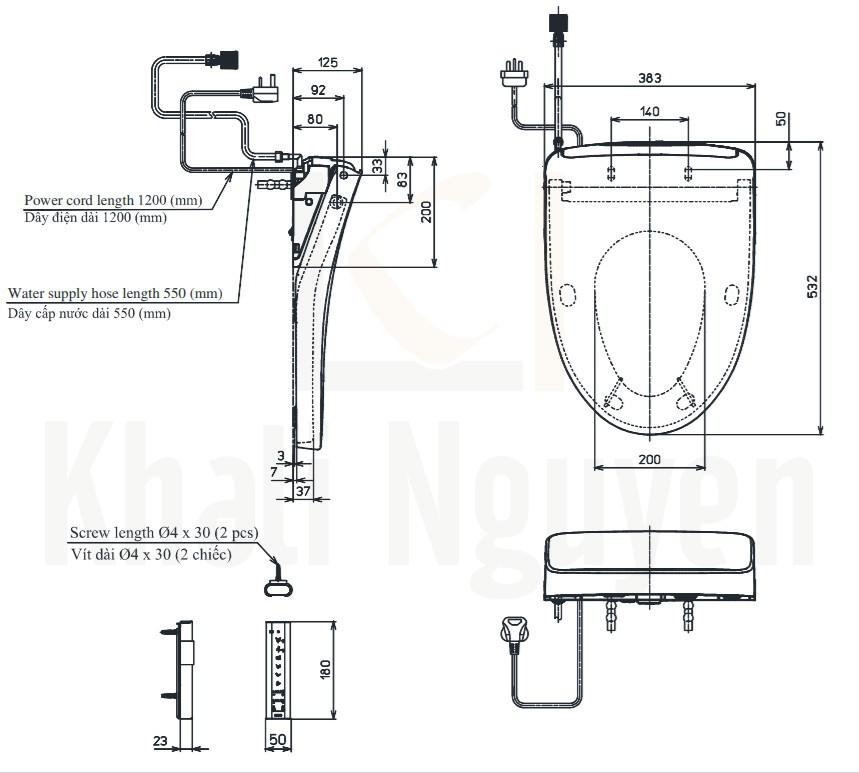Bản Vẽ Nắp Rửa Điện Tử Washlet TOTO TCF4911Z (W11)