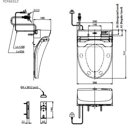 Bản Vẽ Nắp Rửa Điện Tử Washlet TOTO TCF6531Z (W6)