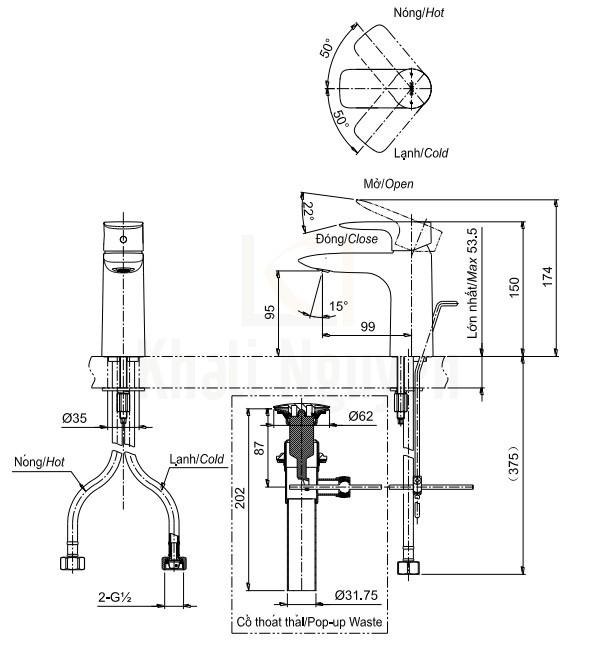 Bản Vẽ Vòi Lavabo TOTO TLG04301V Nóng Lạnh