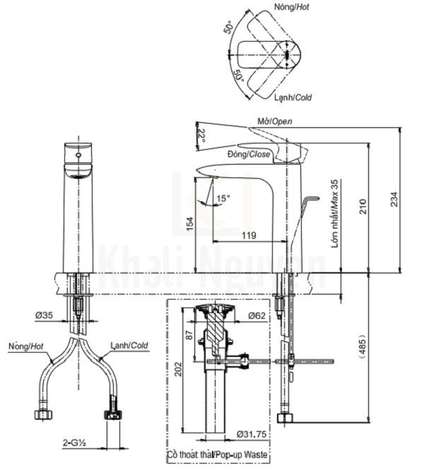 Bản Vẽ Vòi Lavabo TOTO TLG04304V Nóng Lạnh Cổ Cao