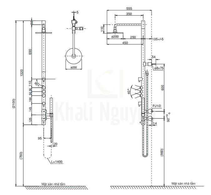 Bản Vẽ Sen Cây Nhật TOTO TMC95ECR Nhiệt Độ