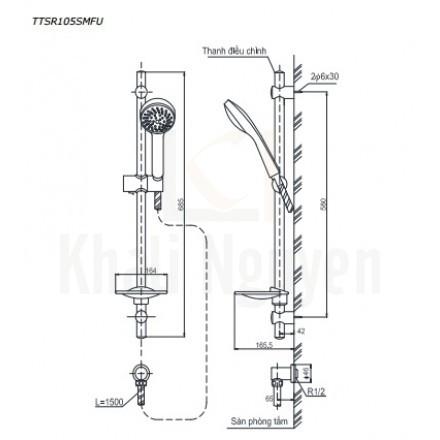 Bản Vẽ Thanh Trượt Sen Tắm TOTO TTSR105SMFU