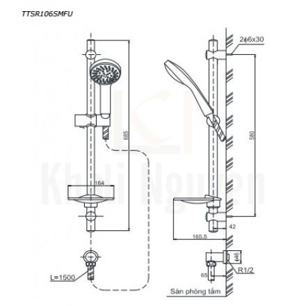 Bản Vẽ Thanh Trượt Sen Tắm TOTO TTSR106SMFU