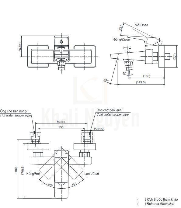 Bản Vẽ Sen Tắm TOTO TVSM110RUR/DGH104ZR Nóng Lạnh