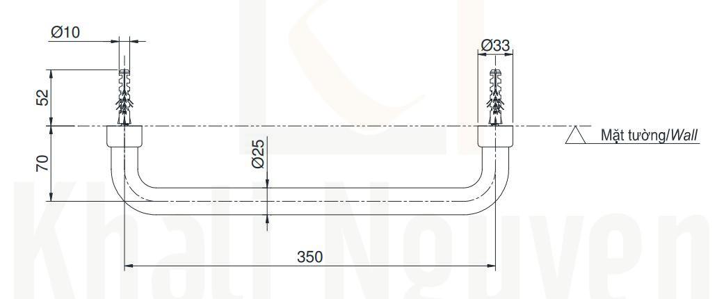 Bản Vẽ Thanh Tay Vịn Nhà Tắm TOTO TX3A1
