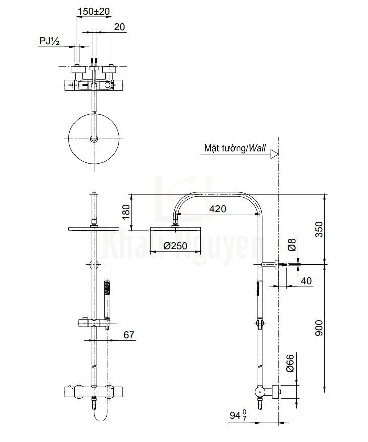 Bản Vẽ Sen Cây TOTO TX454SESV2BRS Nhiệt Độ
