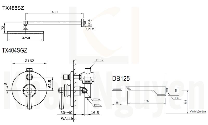 Bản Vẽ Sen Tắm TOTO TX488SZ/TX404SGZ/DB125 Âm Tường