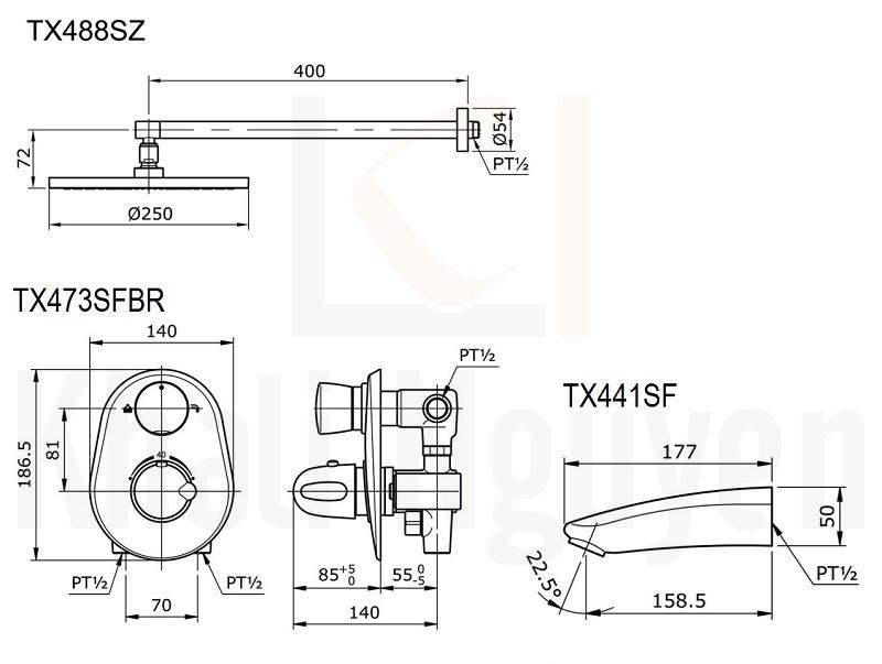Bản Vẽ Sen Tắm TOTO TX488SZ/TX473SFBR/TX441SF Âm Tường