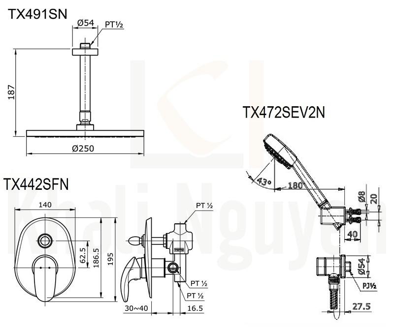 Bản Vẽ Sen Tắm TOTO TX491SN/TX442SFN/TX472SEV2N Âm Tường