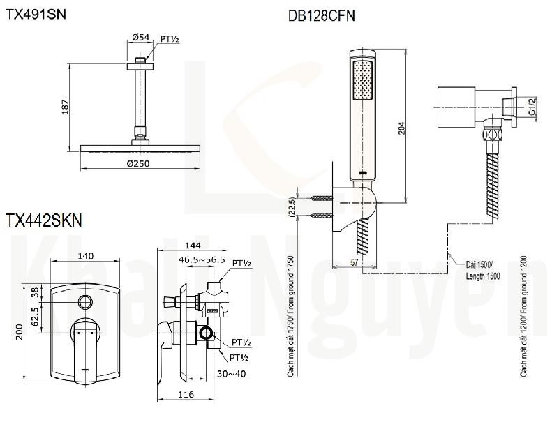Bản Vẽ Sen Tắm TOTO TX491SN/TX442SKN/DB128CFN Âm Tường