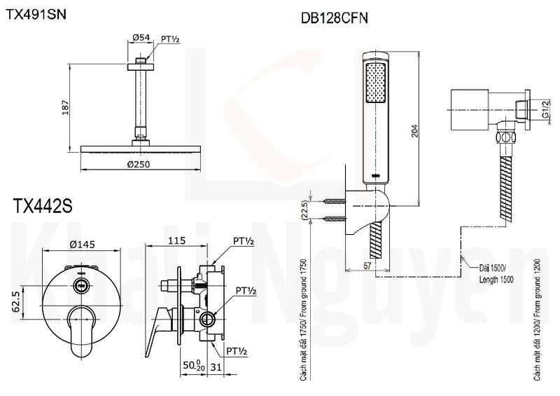 Bản Vẽ Sen Tắm TOTO TX491SN/TX442SU/DB128CFN Âm Tường
