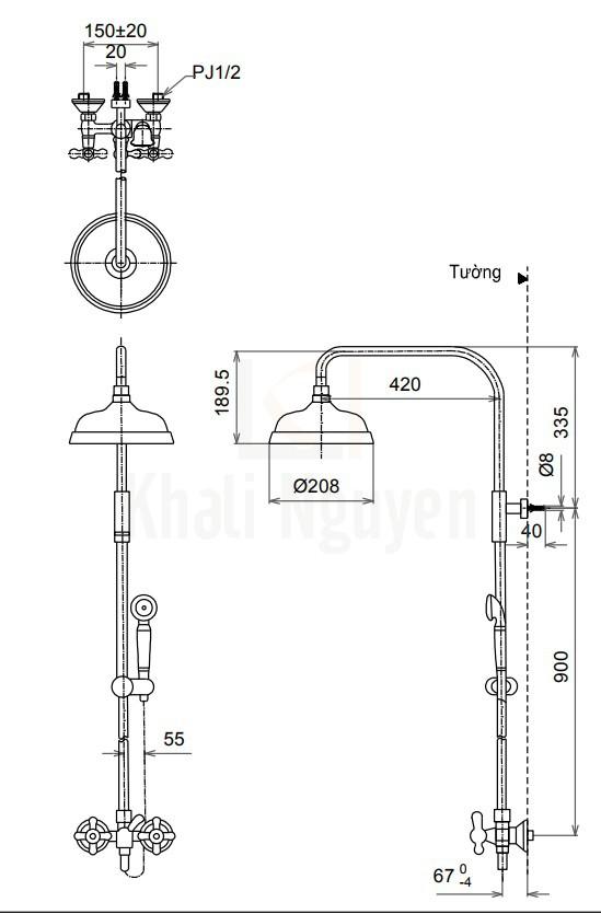 Bản Vẽ Sen Cây TOTO TX492SCR Nóng Lạnh