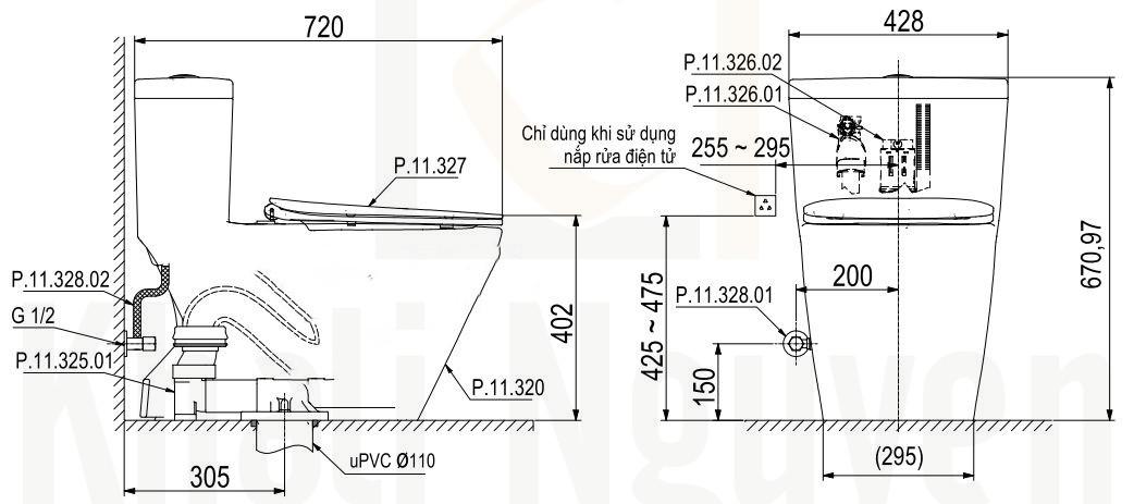 Bản Vẽ Bồn Cầu 1 Khối Viglacera Platinum P.11.320
