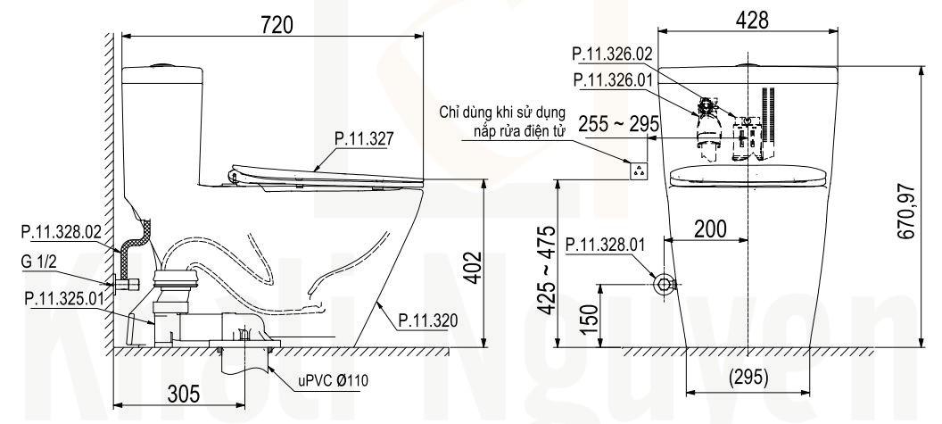 Bản Vẽ Bồn Cầu 1 Khối Viglacera P.11.350