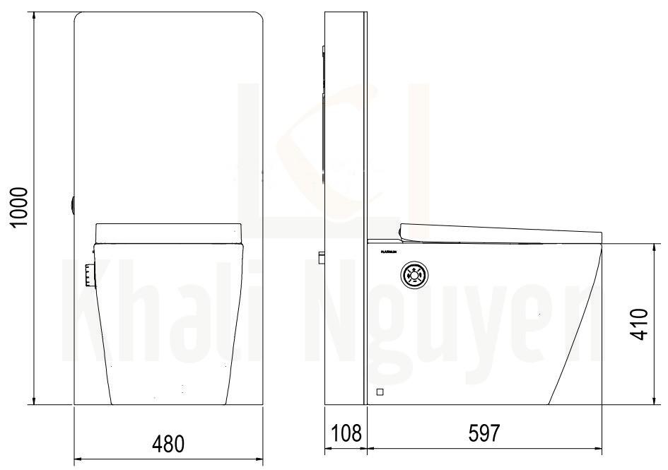 Bản Vẽ Bồn Cầu Thông Minh Viglacera Platinum P.16.321 Đặt Sàn Kính Trắng