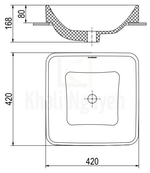 Bản Vẽ Chậu Rửa Lavabo Viglacera Platinum P.22.320 Đặt Bàn