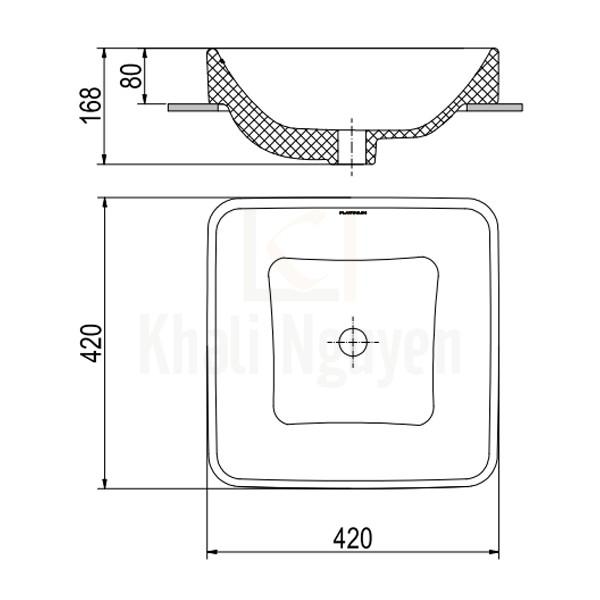 Bản Vẽ Chậu Rửa Lavabo Viglacera Platinum P.23.320 Đặt Bàn